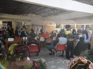 Pregnant Women and Mothers listening to Malaria Prevention Messages during the Malaria Sensitization Campaign 2020 The Gambia at New Jeshwang Health Center
